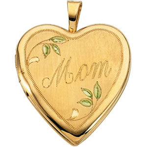 14K Yellow Gold Mom Locket with Color
