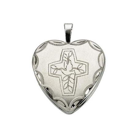 Sterling Silver Cross With Dove Locket