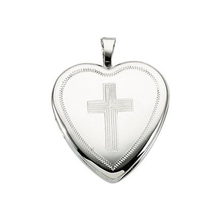 Sterling Silver Locket With Cross Necklace Set