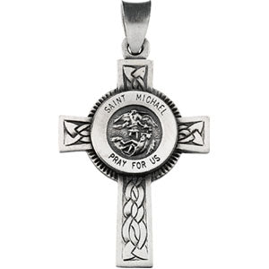 Sterling Silver Saint Michael Cross Necklace Set