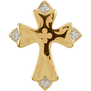 14K Yellow Gold Engraved Diamond Cross