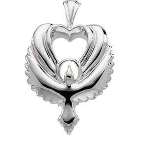 18K Yellow Heart Shaped Holy Spirit Penda