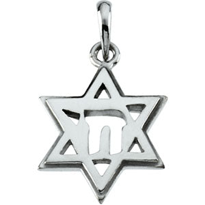 10K Yellow Star Of David Chai Pendant