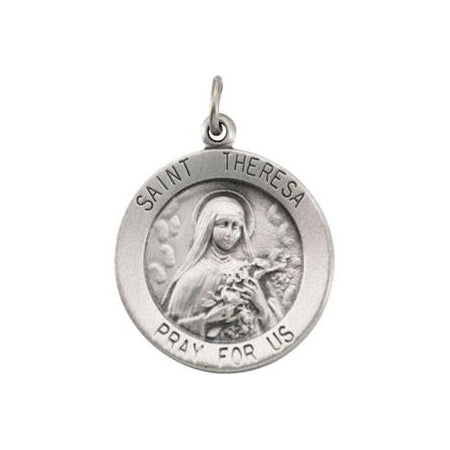 Sterling Silver Saint Theresa Pendant Necklace Set