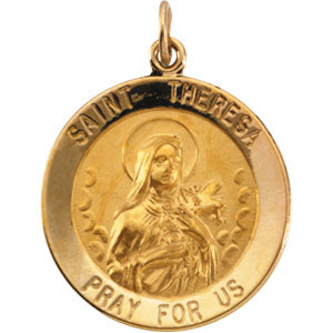 14K Yellow Gold Saint Theresa Pendant
