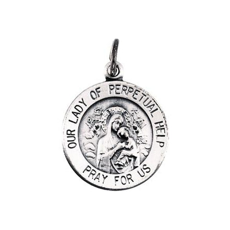 Sterling Silver Round Perpetual Help Pendant Necklace Set