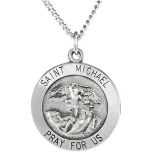 Sterling Silver Round Saint Micheal Pendant Necklace Set
