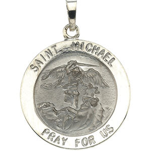 14K White Gold Saint Michael Pendant