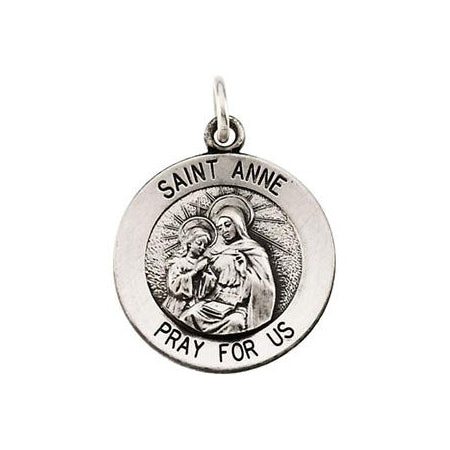 Sterling Silver Round Saint Anne Pendant Necklace Set