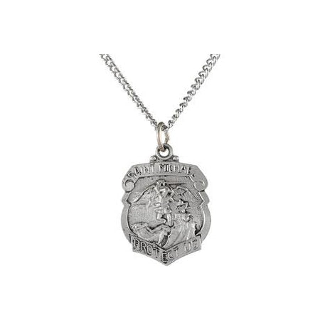 Sterling Silver Saint Michael Pendant Necklace Set