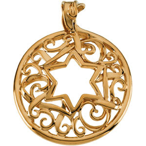 18K Yellow Star Of David Pendant