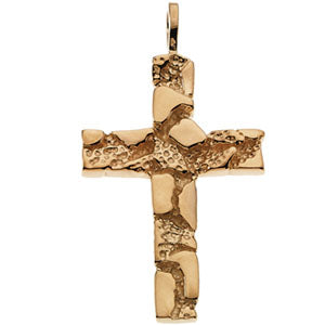 18K Yellow Nugget Cross Pendant