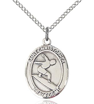 Sterling Silver Saint Christopher Surfing Necklace Set
