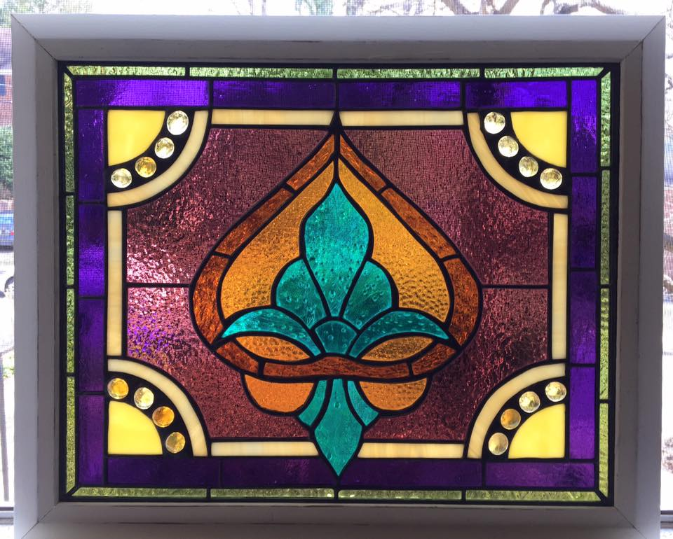 Fleur-de-lis Decorative Stained Glass