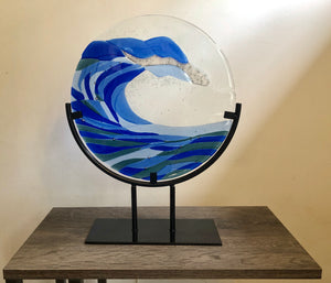 "12"" Blue Ocean Wave with Metal Stand"