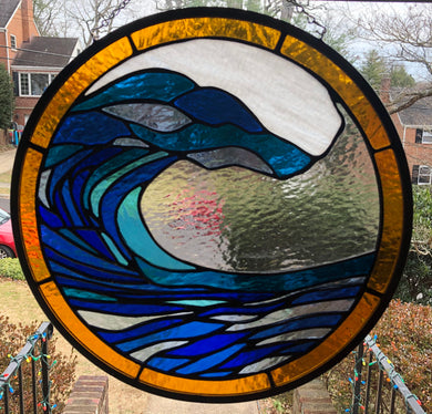 "15"" Ocean Wave Stained Glass"