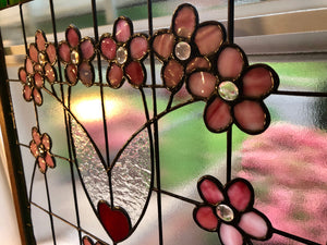 Victorian Cherry Blossoms Stained Glass