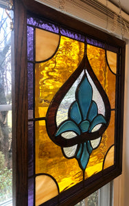 Turquoise Fleur-de-lis Stained Glass Piece
