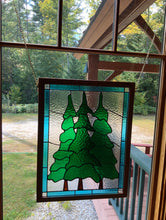 Large Three Pines Stained Glass Panel