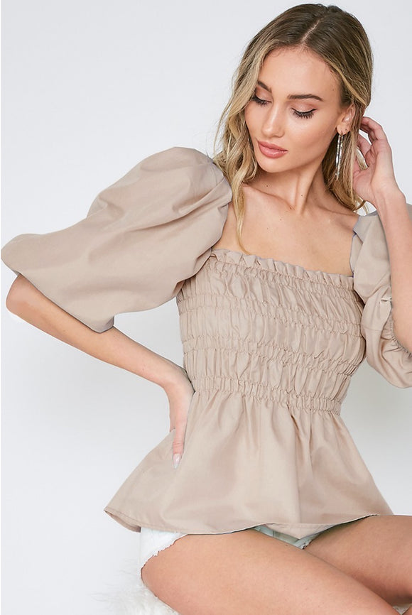 It's the Trend for Me Smocked Puff Sleeve Top