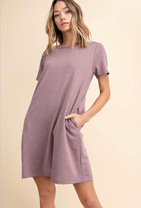Make a Promise Dusty Purple T-Shirt Dress