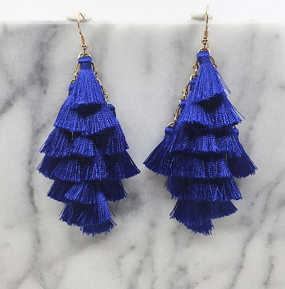 Team Chants Multi Tassel Earrings
