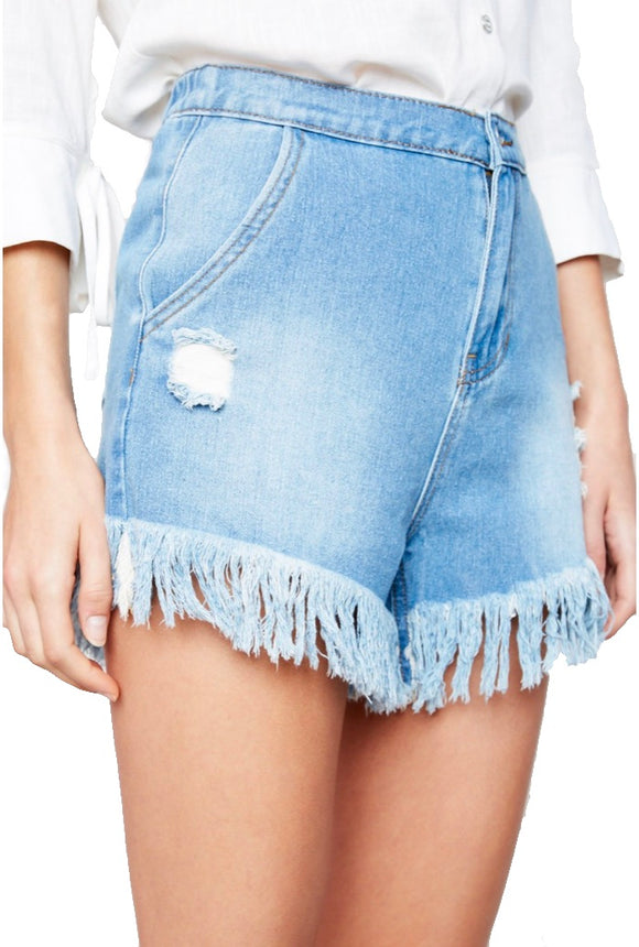 Staying Right Here Fringe Denim Shorts