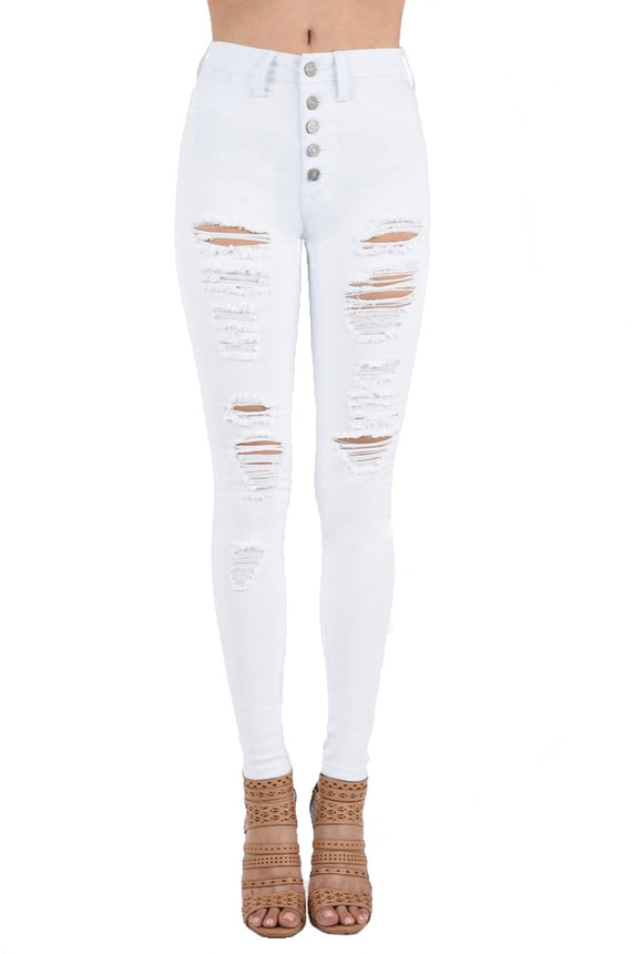 Tell Me You Love Me Distressed White Jeans