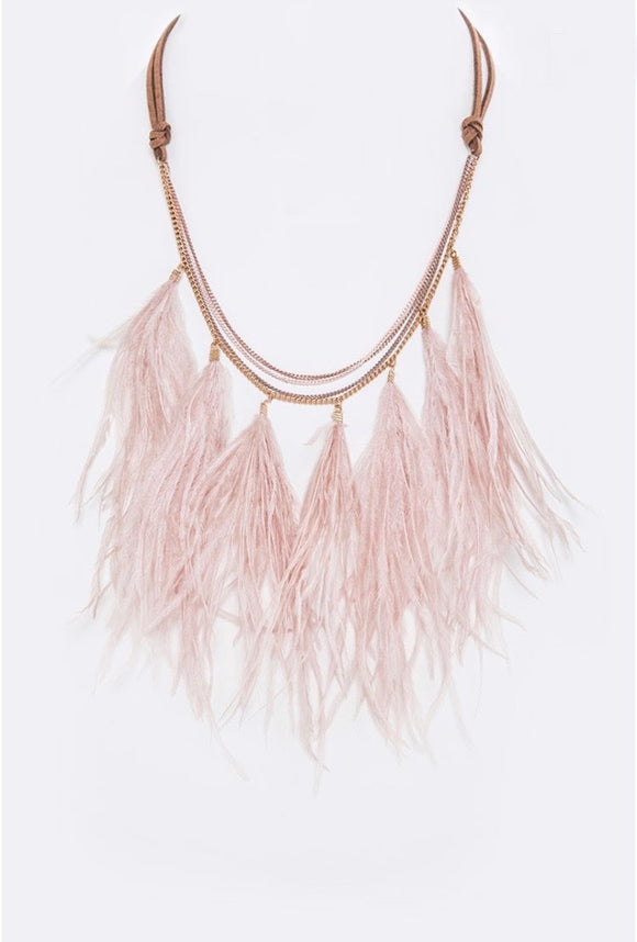Blushing Feathers Necklace