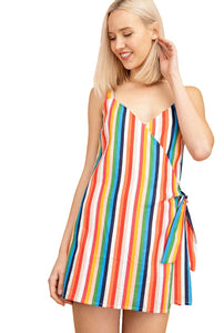 Stop Playing Games Multicolor Striped Skort Romper