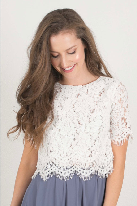 Filled with Love White Lace Crop Top