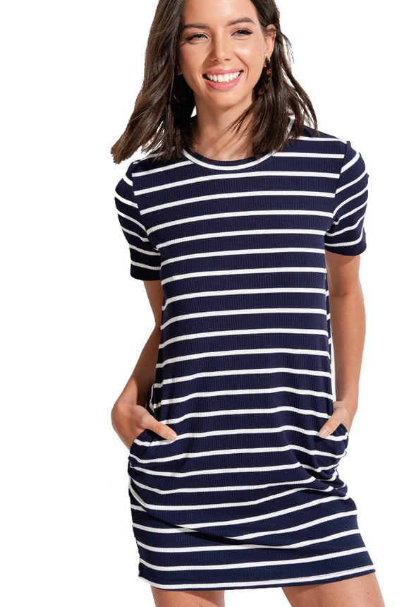 Ready to Relax Navy & White Striped T-Shirt Dress