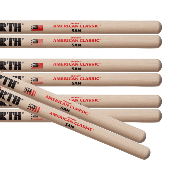 4pr Vic Firth 5AN American Classic Nylon Tip Drumsticks Value pack - Drum Supply House