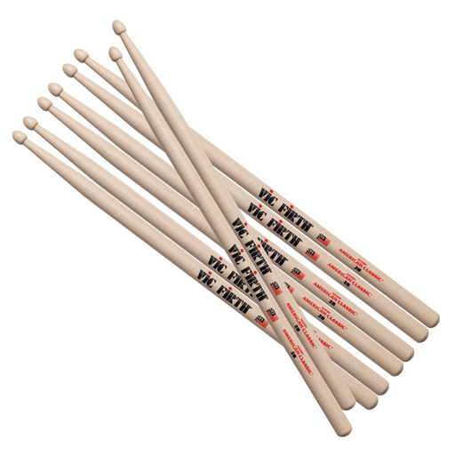 Vic Firth 2B American Classic Wood Tip Drumsticks, 4pr Value pack