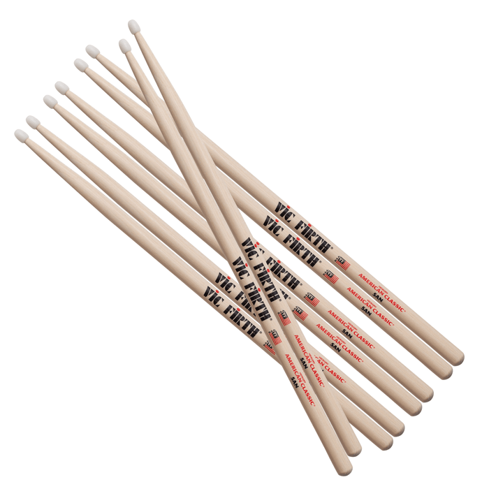 Vic Firth 5AN American Classic Nylon Tip Drumsticks, 4pr Value pack