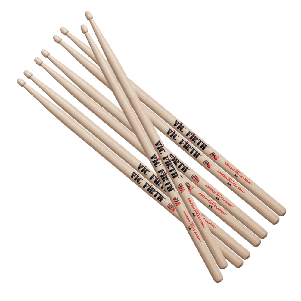 Vic Firth 5A American Classic Wood Tip Drumsticks, 4pr Value pack