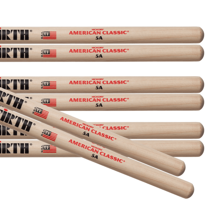 4pr Vic Firth 5A American Classic Wood Tip Drumsticks Value pack