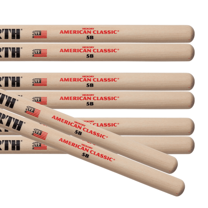 4pr Vic Firth 5B American Classic Wood Tip Drumsticks Value pack
