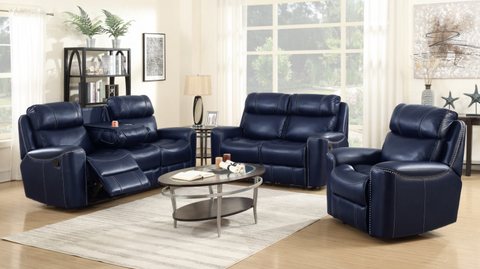 Beautiful Blue Leather Recliner with Console