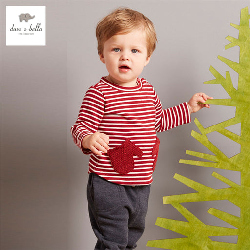 DB3984 davebella autumn baby boys red t-shirt kids red striped tops boys  tees kids t shirt