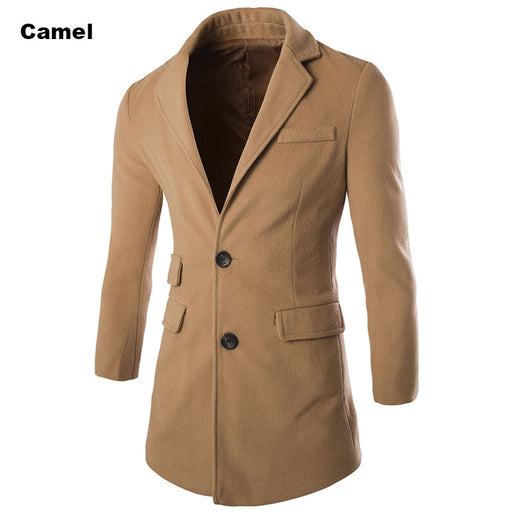 Winter Spring High Quality Fashion Woolen Men Coat Turn-down Collar Single-Button Solid Color Men's Coats