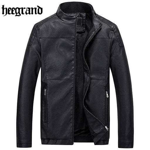 HEE GRAND 2017 New Leather Jackets Men Windproof  Motorcycle Jacket Coats Casual Outwear Plus Size MWP336