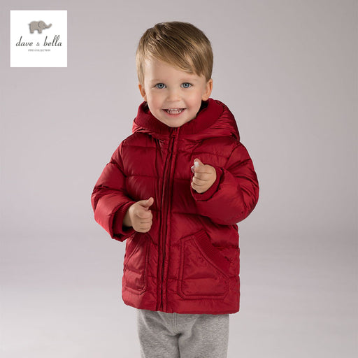 DB3898 DAVEBELLA baby boy padded down  jacket children red  outerwear kids clothes
