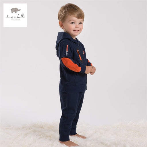DB4282 davebella boys sport clothing set children navy sets kids clothes