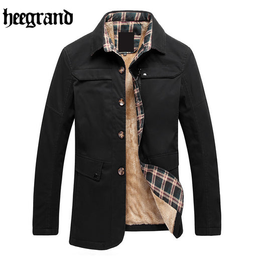 HEE GRAND 2017 New Arrival Fashion Men Winter Cotton Tooling Outwear Trench Warm Leisure Office Jackets Coats MWF322