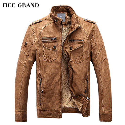 HEE GRAND Men Fashion Environmental Pu Jacket 2017 New Pockets Decoration Autumn Warm Padded Leather Coat M-3XL MWP440