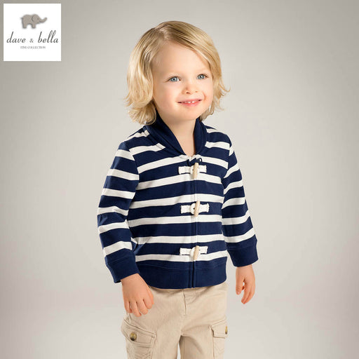 DB4529 davebella spring baby boys baseball jackets cool fashion coat  super sport Jersey clothes navy striped coat