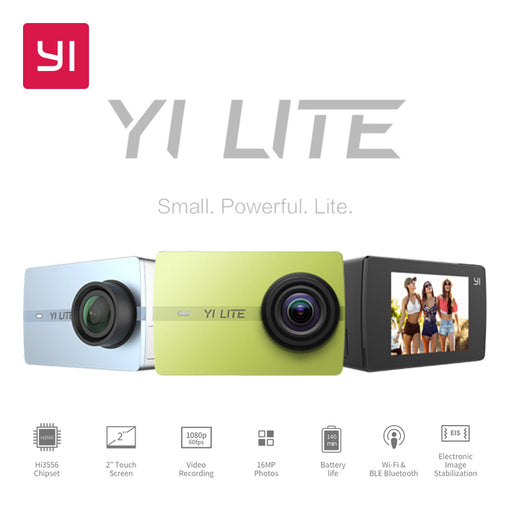 YI Lite Action Camera 16MP Real 4K Sports Camera with Built-in WIFI 2 Inch LCD Screen 150 Degree Wide Angle Lens