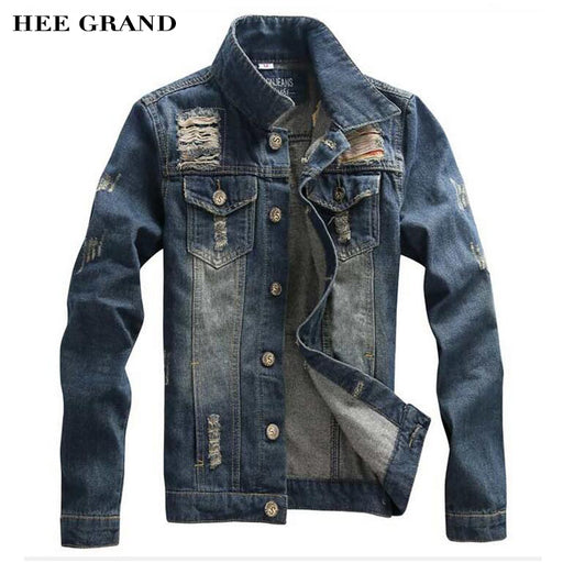 HEE GRAND Men's Denim Jacket New Arrival Fashion Stand Collar Four Season Casual Solid Chaquetas Hombre M-3XL Size MWJ1247