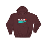 Akron Heart Hooded Sweatshirt - We Care Tees